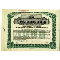 Baltimore and Ohio Railroad Co. 1901 Specimen Bond Rarity