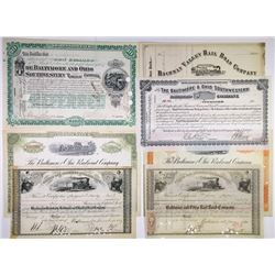 Baltimore and Ohio Railroad Stock Certificate Group of 7 Certificates, 1864-1926