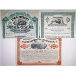 Trio of Issued Railway Bonds, 1880-1970