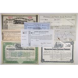 North East Railroad Stock Certificates 1836-1943 Assortment