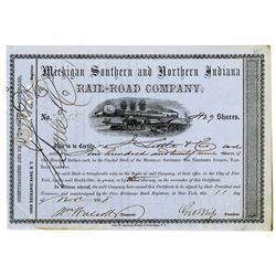 Michigan Southern and Northern Indiana Rail-Road Co. 1858 I/C Stock Certificate Issued to Jacob Litt
