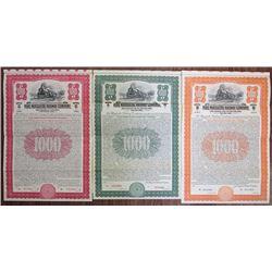 Pere Marquette Railway Co. 1916 & 1930 Specimen Bond Trio