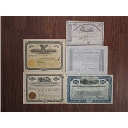 Michigan, Illinois and Indiana Railroad Stock Certificate Assortment ca.1851 to 1937.