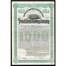 Duluth Street Railway Co. 1890 Specimen Bond..