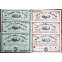 Northern Pacific Railroad Co., 1890-1891 Stock Certificate Group of 6 Pieces.