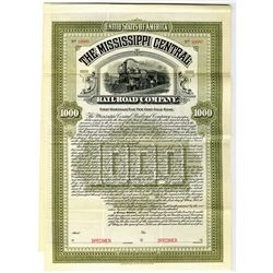 Mississippi Central Railroad Co., 1904 Specimen Bond