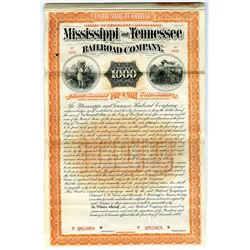 Mississippi and Tennessee Railroad Co., 1887 Specimen Bond