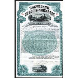 Cleveland, St. Louis and Kansas City Railway  Co, 1888, I/U Coupon Bond.