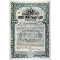 Kansas City Railway and Light Co. 1907 $1000 Specimen Bond