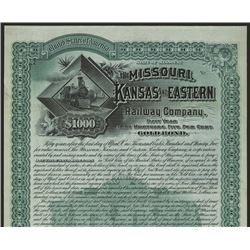 Missouri, Kansas and Eastern Railway Co. 1897 Specimen Bond Rarity