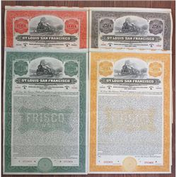 St. Louis - San Francisco Railway Co. 1916 Specimen Bond Quartet Rarity