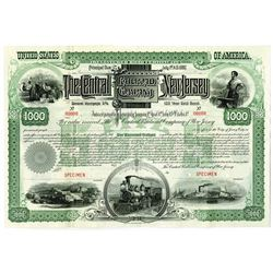 Central Railroad Co. of New Jersey, 1887 Specimen Bond