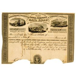 Delaware & Raritan Canal Company & Camden & Amboy Rail Road and Transportation Co. 1834 I/C Stock Ce
