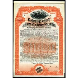 Empire City Subway Co., Ltd., 1892 Specimen Bond Rarity