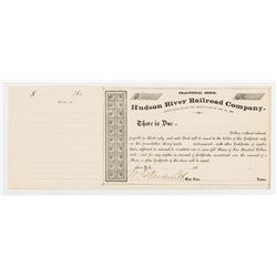 Hudson River Railroad Co., 186x Partially Issued & Uncancelled Stock with W.H. Vanderbilt Autograph.