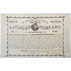 Kings County Central Railroad Co. 1877 I/U Bond Rarity