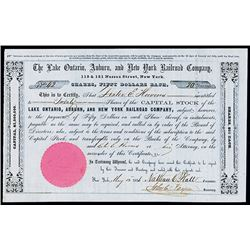Lake Ontario, Auburn, and New York Railroad Co. 1856 Stock Certificate.
