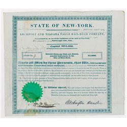 Lockport and Niagara Falls RR Co., 1838  Bond, signed by Washington Hunt as President.