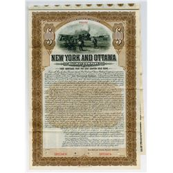 New York and Ottawa Railway Co. 1905 Specimen Bond.