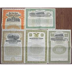 New York, New Haven and Hartford Railroad Co., 1901-1940 Specimen Bond Quintet