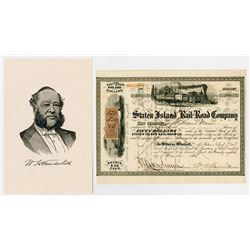 Staten Island Rail-Road Co., March, 1864 Stock Certificate With William H. Vanderbilt Signature as P