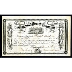 Tramway Power Co., 1876 I/U  Stock Certificate.