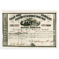 Union Iron Pavement & Street Railway Co., 1859 I/U Stock Certificate.
