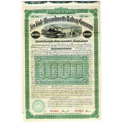 New York and Massachusetts Railway Co., 1887 Specimen Bond Rarity.