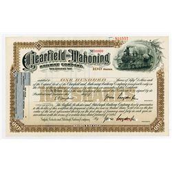 Clearfield & Mahoning Railway Co. 1893 Specimen Stock Certificate.