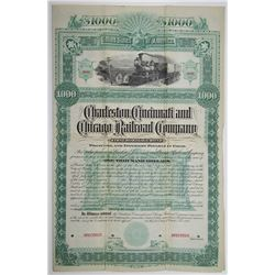 Charleston, Cincinnati and Chicago Railroad Co. 1886 Specimen Bond