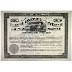 Bellaire, Zanesville & Cincinnati Railway Co. 1884 Specimen Bond Rarity