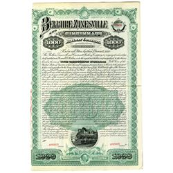 Bellaire, Zanesville and Cincinnati Railway Co. As Reorganized, 1889 Specimen Bond Rarity
