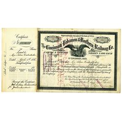 Cincinnati Lebanon & Northern Railway Co. 1886 I/C Stock Certificate