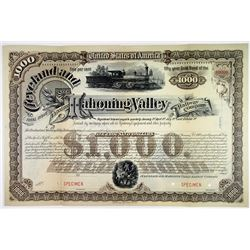 Cleveland & Mahoning Valley Railway Co., 1888 Specimen Bond