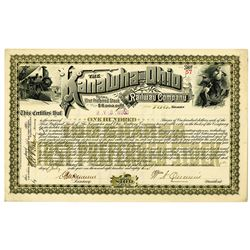 Kanawha and Ohio Railway Co. 1886 I/U Stock Certificate
