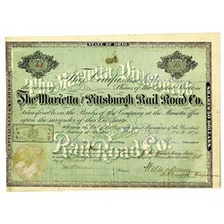 Marietta and Pittsburgh Rail Road Co. 1870 I/U Stock Certificate.