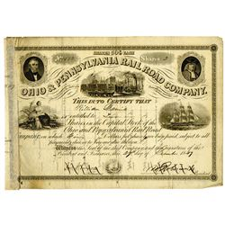 Ohio & Pennsylvania Rail Road Co. 1849 I/C Stock Certificate