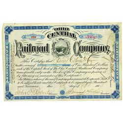 Ohio Central Railroad Co. 1884 I/U Stock Certificate ITASB Henry Clews