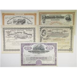 Ohio Railroad Stock Certificate Assortment of 5 pieces