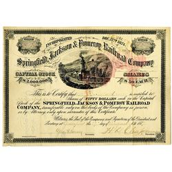 Springfield, Jackson & Pomeroy Railroad Co. 1877 I/U Stock Certificate