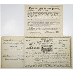 Swan Creek Railway Co. of Toledo, Ohio, 1889 Stock Certificate Issued to William K. Vanderbilt