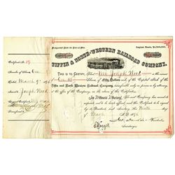 Tiffin & North-Western Railroad Co. 1894 I/C Stock Certificate
