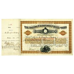 Toledo, Walhonding Valley and Ohio Railroad Co. 1891 I/C Stock Certificate