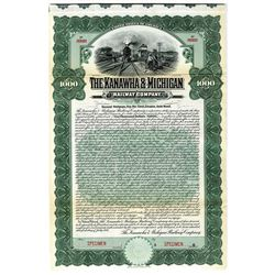 Kanawha & Michigan Railway Co. 1907 Specimen Bond