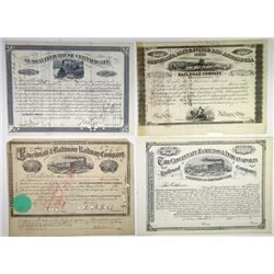 Midwest Railroad Stock Certificate Group of 20, 1850-1967