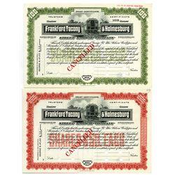 Frankford, Tacony & Holmesburg Street Railway Co. 1910 Specimen Stock Trust Certificate Pair