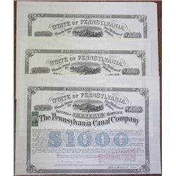 Pennsylvania Canal Co., 1870 Issued Bond Trio Signed by Alfred Mordecai.