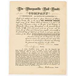 Sharpsville Rail Road Co., 1881 I/U Bond