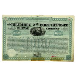 Columbia and Port Deposit Railway Co. Specimen Bond Rarity