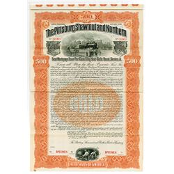 Pittsburg, Shawmut & Northern Railroad Co., 1902 Specimen Bond